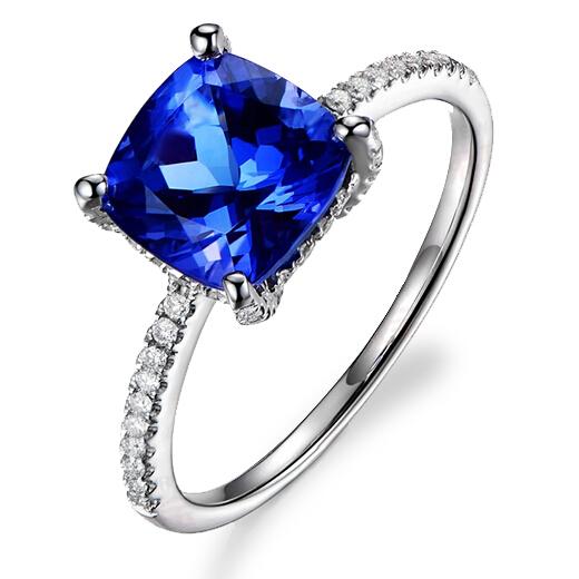Simple 1.2ct Tanzanite Halo Ring