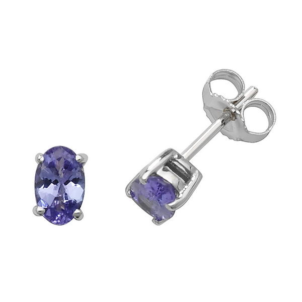 Solitaire Oval Tanzanite Stud Earrings